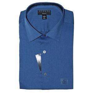 Alfani Slim Fit Bedford Cord Dress Shirt,  Indigo
